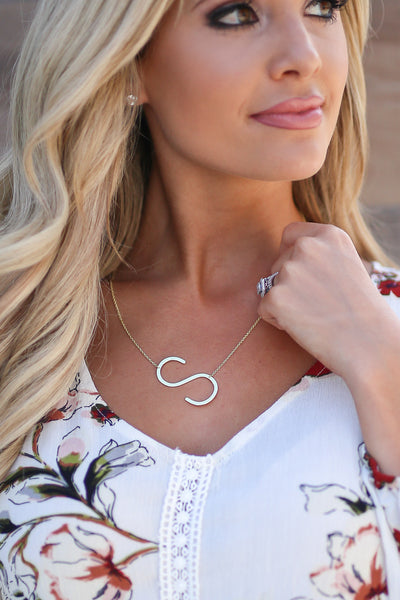 Love Yourself Large Initial Necklace - Gold color women's necklaces closet candy boutique 1