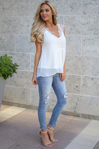 LOVE STITCH Like A Dream Tank - White women's lace flowy date night top closet candy boutique 3