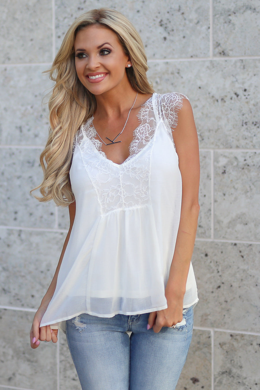 LOVE STITCH Like A Dream Tank - White women's lace flowy date night top closet candy boutique 1