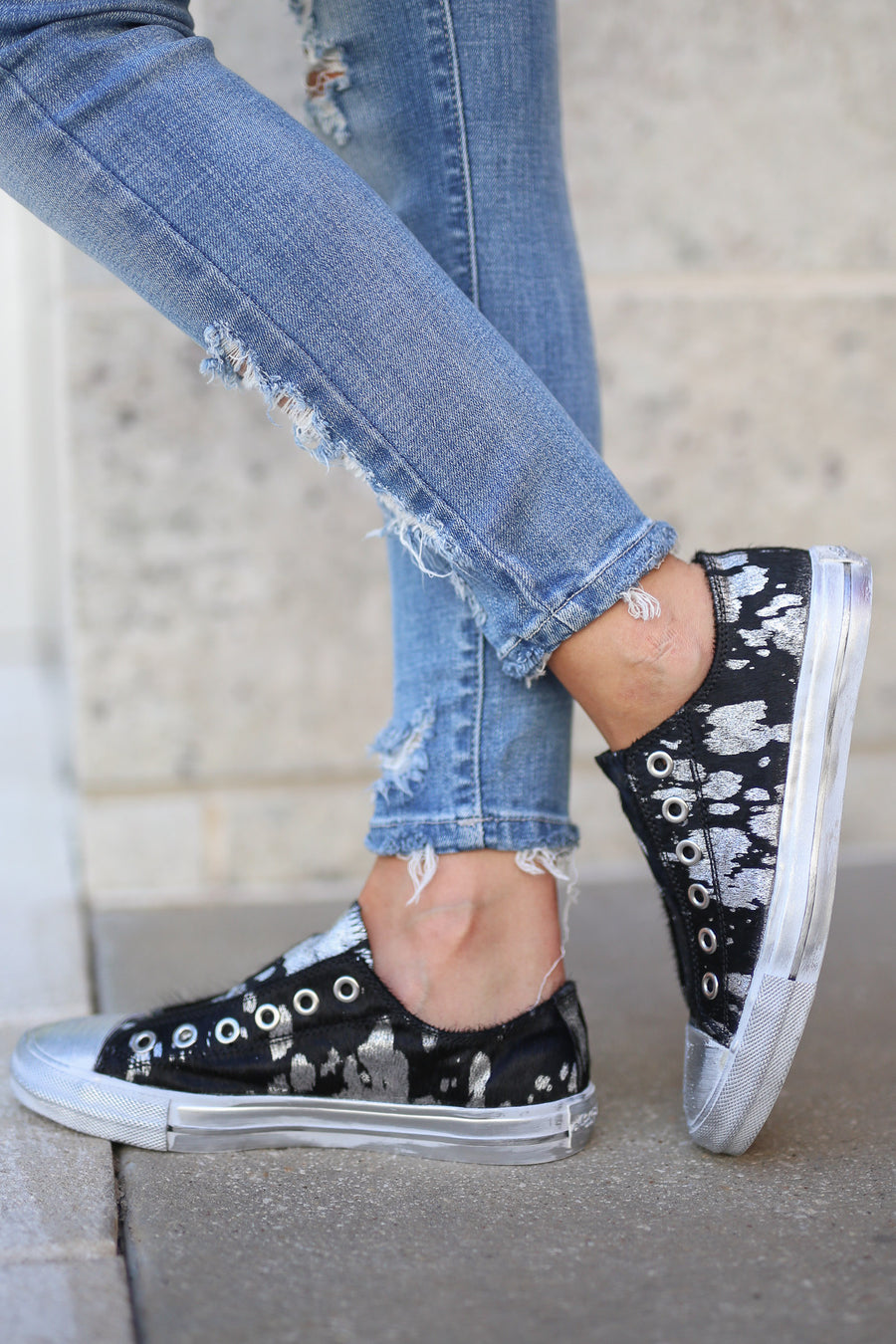 NAUGHTY MONKEY Urban Street Sneakers - Black and silver slip on vintage paint splatter shoe with printed pony hair  closet candy boutique 1