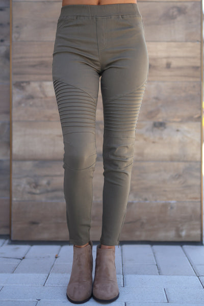 Need For Speed Moto Pants - cute trendy olive color moto pants, jeggings, Closet Candy Boutique 3