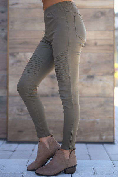Need For Speed Moto Pants - cute trendy olive color moto pants, jeggings, Closet Candy Boutique 2