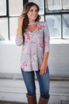 Sunny Skies Top - grey floral print v-cutout top, front view, Closet Candy Boutique