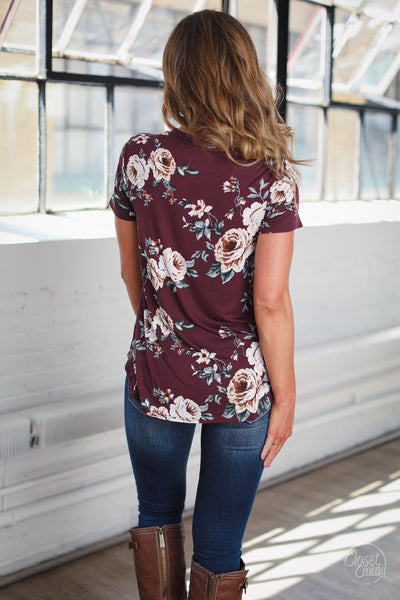 Best Day Ever Top - wine floral print short sleeve top with cutout neckline, back, Closet Candy Boutique