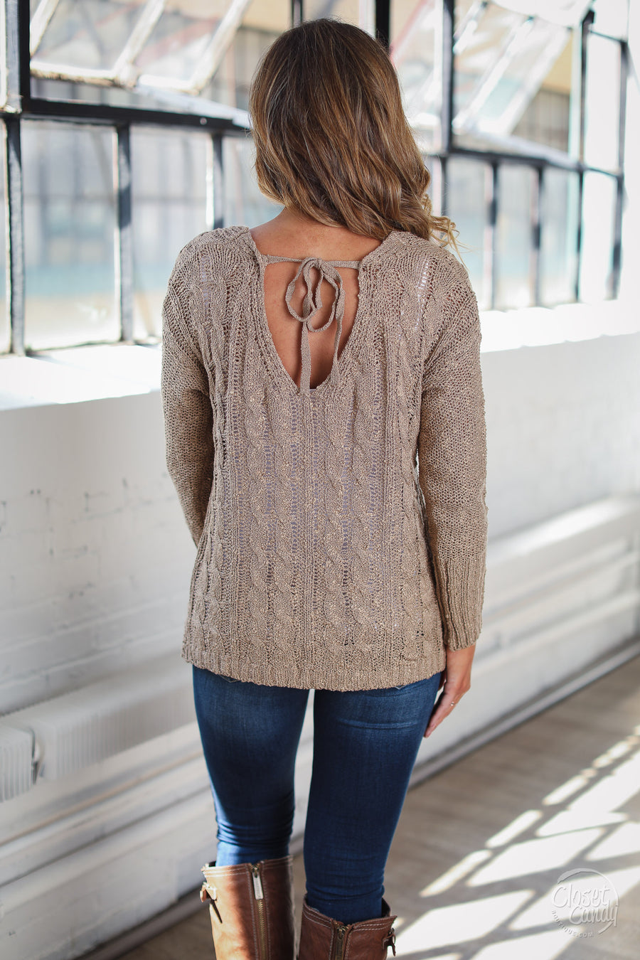Season of Change Sweater - Taupe womens crossover top fall style closet candy