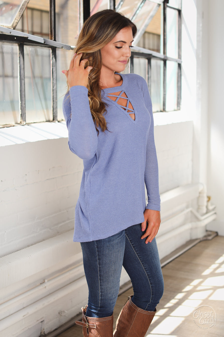 Travel On Top - blue criss cross long sleeve top, front, Closet Candy Boutique