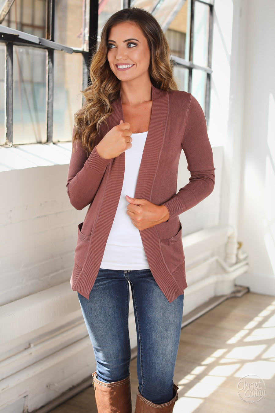 The Nearness of You Cardigan - cute trendy marsala open front cardigan sweater, side, Closet Candy Boutique