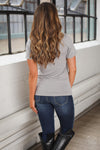 V-Neck Cross Tee - cute grey cross graphic tee, back view, Closet Candy Boutique