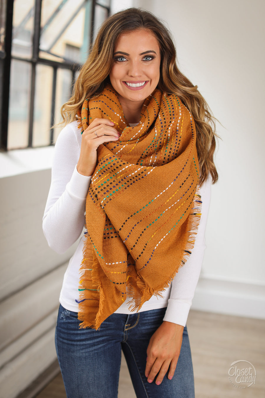 Top It Off Blanket Scarf - Camel