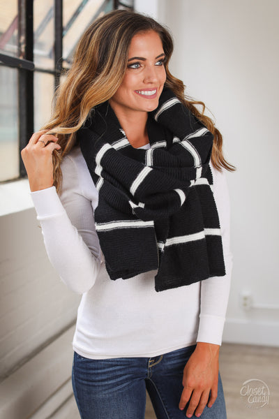 Wrapped In Warmth Scarf - Black and white stripe knit scarf, Closet Candy Boutique