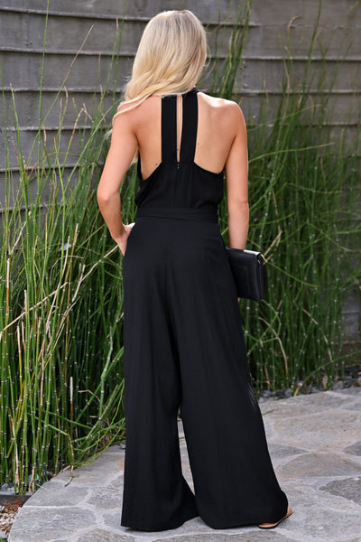 Underrated Jumpsuit - Black womens trendy pleated halter neck tie waist jumpsuit closet candy back