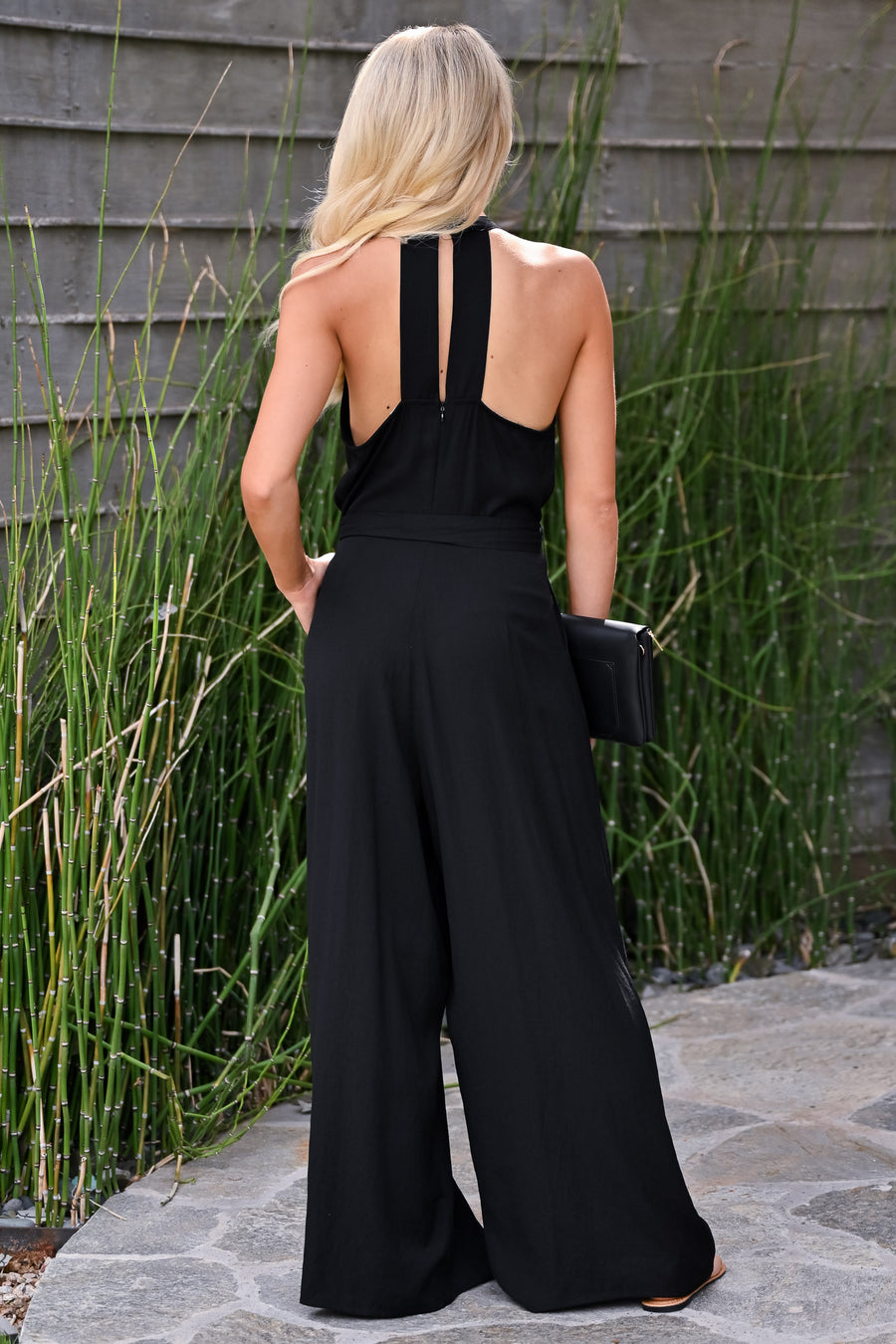 Underrated Jumpsuit - Black womens trendy pleated halter neck tie waist jumpsuit closet candy side
