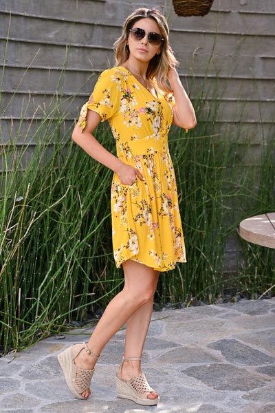 Be The Good Floral Dress - Sunshine womens trendy short sleeve v-neck floral dress closet candy side