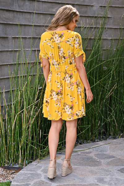 Be The Good Floral Dress - Sunshine womens trendy short sleeve v-neck floral dress closet candy back