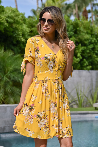 Be The Good Floral Dress - Sunshine womens trendy short sleeve v-neck floral dress closet candy front