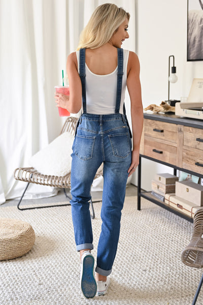 KAN CAN Charlotte Overall Jeans - Medium Wash womens casual overall style jeans closet candy back