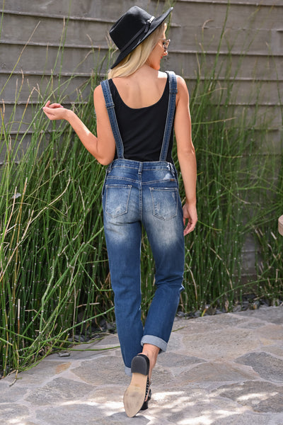 KAN CAN Charlotte Overall Jeans - Dark Wash womens trendy distressed cuffed dark wash overalls closet candy back