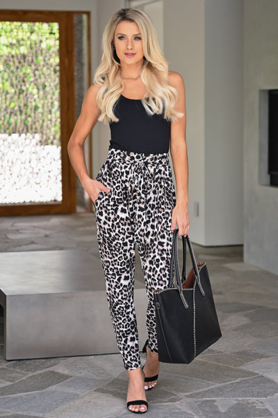 Never Underestimate Pants - Leopard womens trendy paper bag waist printed leopard long pants closet candy front