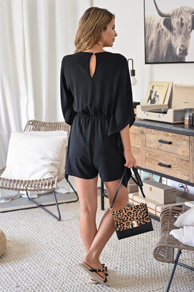 Just Have Fun Romper - Black womens trendy kimono sleeve one piece romper closet candy back