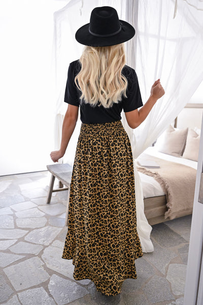 Bad Things Disappear Maxi Skirt - Leopard womens trendy button up leopard print skirt closet candy back