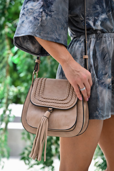 Emily Crossbody Bag - Taupe womens trendy crossbody with tassel on front closet candy side