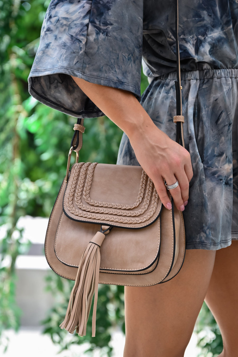 Emily Crossbody Bag - Taupe womens trendy crossbody with tassel on front closet candy close