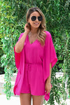 Just Have Fun Romper - Fuchsia womens trendy kimono sleeve short one piece romper closet candy close