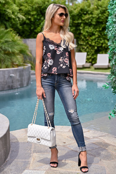Let You Know Cami - Black womens trendy floral lace detail tank top closet candy front 2