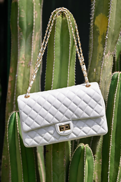 Chelsea Purse - White womens trendy quilted vegan leather over the shoulder purse closet candy 4