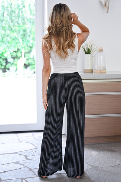 Missing You Palazzo Pants - Black womens trendy tie front striped side slit pants closet candy back