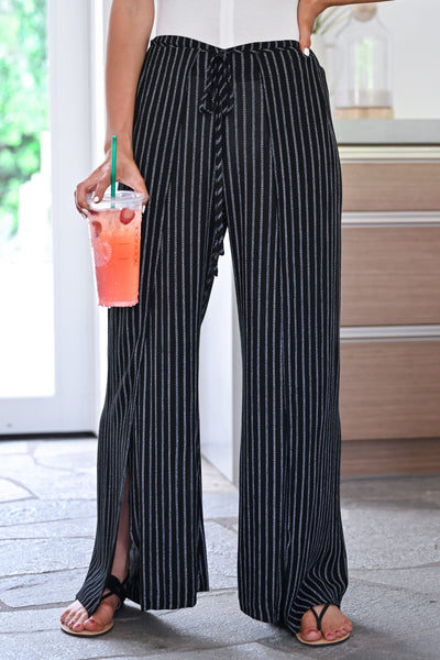 Missing You Palazzo Pants - Black womens trendy tie front striped side slit pants closet candy close