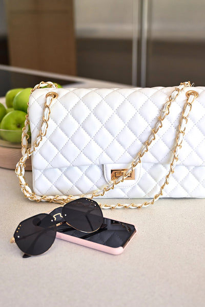 Chelsea Purse - White womens trendy quilted vegan leather over the shoulder purse closet candy flatlay