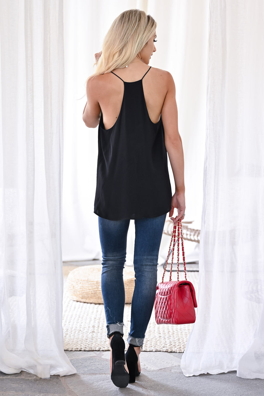 Can't Hold Us Tank - Black womens trendy sleeveless flowy thin strap tank top closet candy front