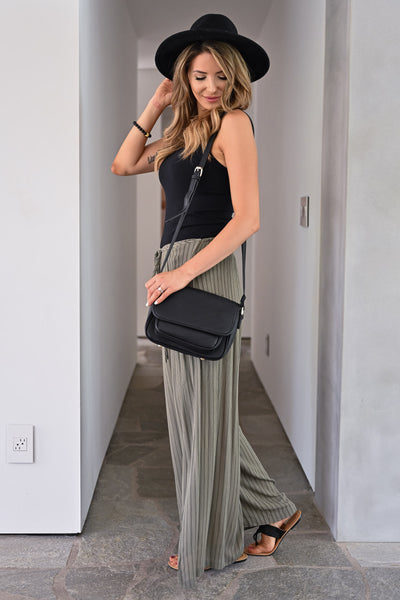 Missing You Palazzo Pants - Olive womens trendy split wide leg drawstring comfy palazzo pants closet candy side