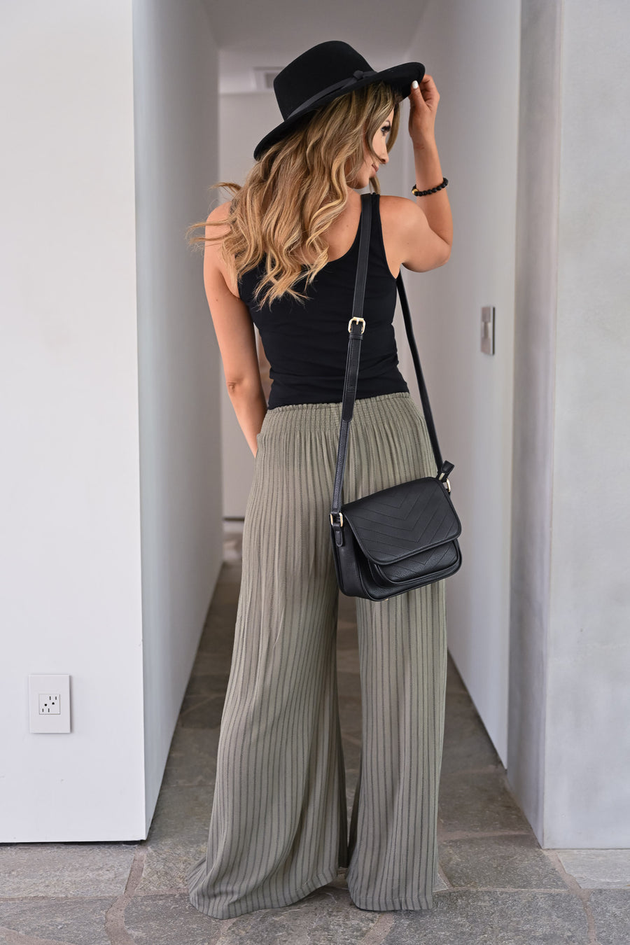 Missing You Palazzo Pants - Olive womens trendy split wide leg drawstring comfy palazzo pants closet candy front