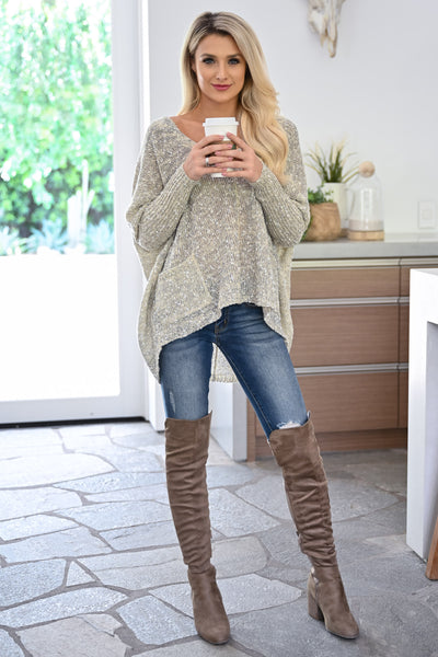 Grab the Latte Sweater - Natural womens casual oversized sweater with pockets closet candy front 4