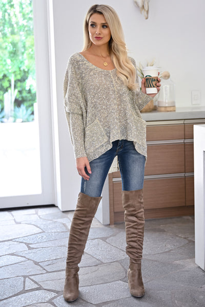Grab the Latte Sweater - Natural womens casual oversized sweater with pockets closet candy front1
