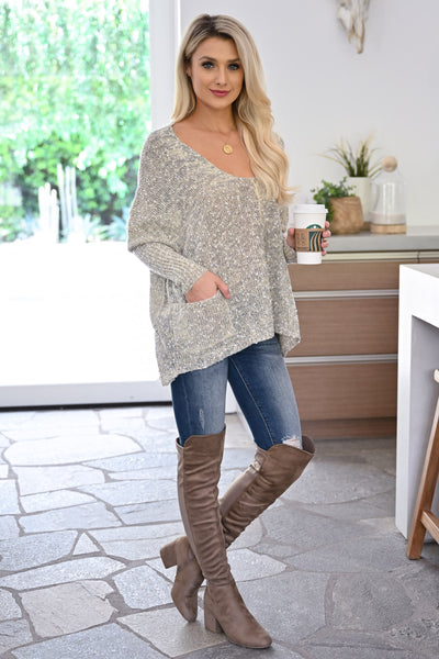 Grab the Latte Sweater - Natural womens casual oversized sweater with pockets closet candy front