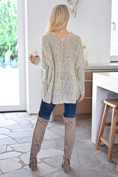 Grab the Latte Sweater - Natural womens casual oversized sweater with pockets closet candy back