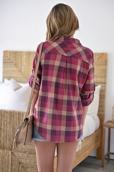 Always Wandering Plaid Button Up Top - Berry womens casual plaid collared rolled sleeve top closet candy back