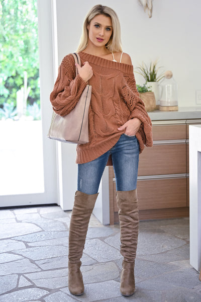 Friendly Reminder Cable Knit Sweater -  Brick womens casual off the shoulder long sleeve oversized sweater closet candy front