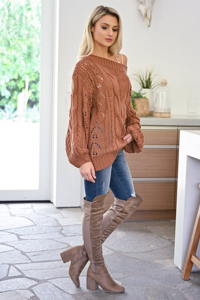 Friendly Reminder Cable Knit Sweater -  Brick womens casual off the shoulder long sleeve oversized sweater closet candy side