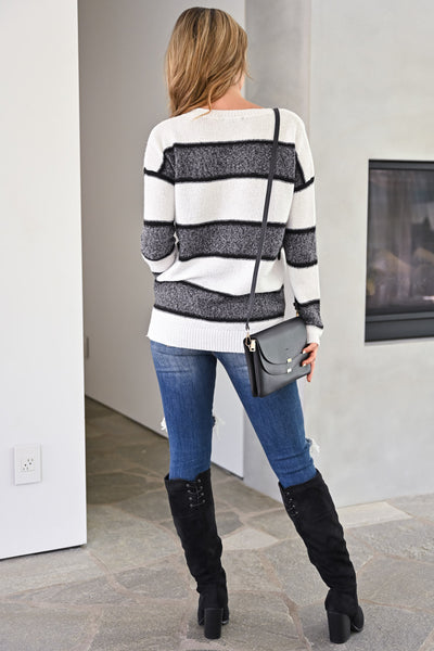 Wouldn't It Be Nice Sweater - White & Charcoal womens trendy thick striped long sleeve cozy fall sweater closet candy back