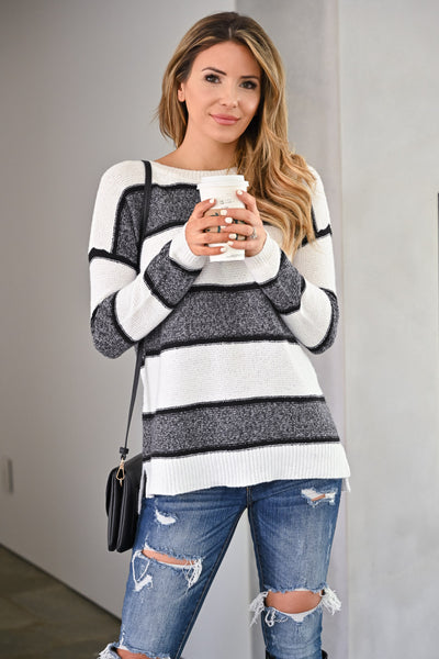Wouldn't It Be Nice Sweater - White & Charcoal womens trendy thick striped long sleeve cozy fall sweater closet candy close