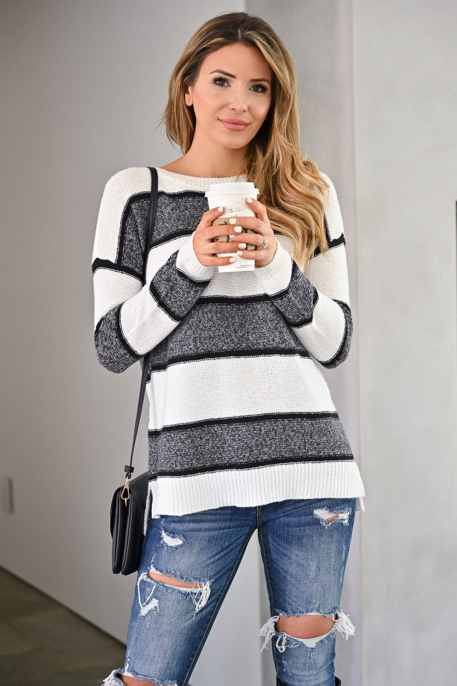 Wouldn't It Be Nice Sweater - White & Charcoal womens trendy thick striped long sleeve cozy fall sweater closet candy side