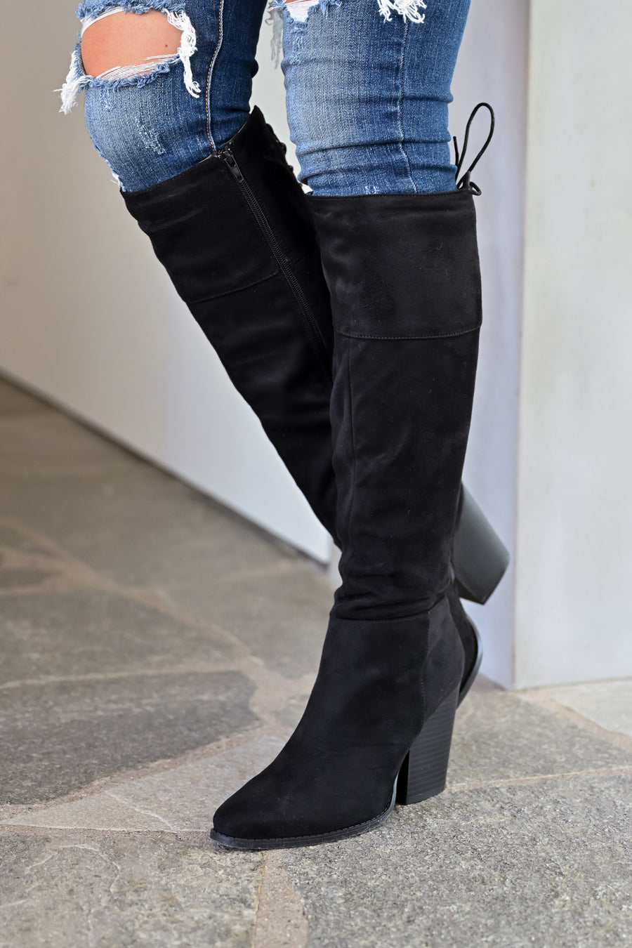 Karina Knee High Boots - Black womens trendy tall suede partial lace up boot closet candy side