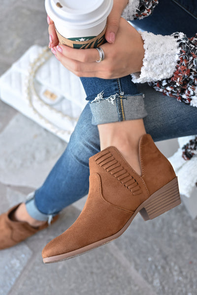 Kelsey Slip On Booties - Chestnut womens trendy woven detail slip on camel bootie closet candy 1