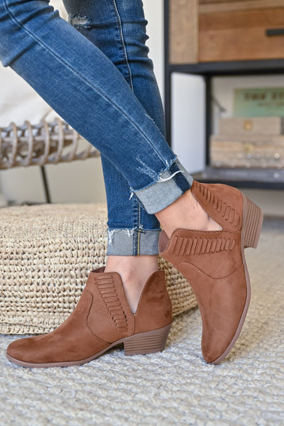 Kelsey Slip On Booties - Chestnut womens trendy woven detail slip on camel bootie closet candy side