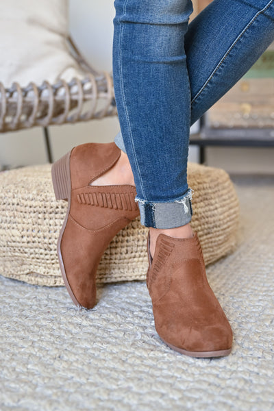 Kelsey Slip On Booties - Chestnut womens trendy woven detail slip on camel bootie closet candy front
