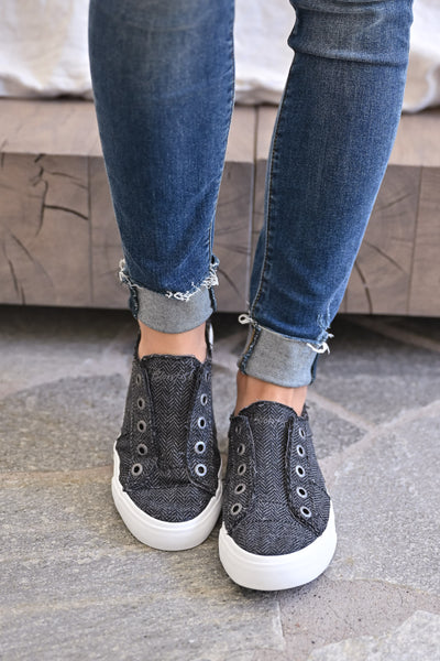 Wherever You Wander Sneakers - Charcoal Herringbone womens casual slip on tennis shoes closet candy front 3
